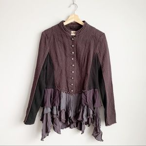 Free People Military Ruffle Button Boho Jacket S